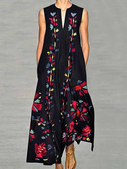 Ankle-Length Print Sleeveless Pullover Expansion Dress