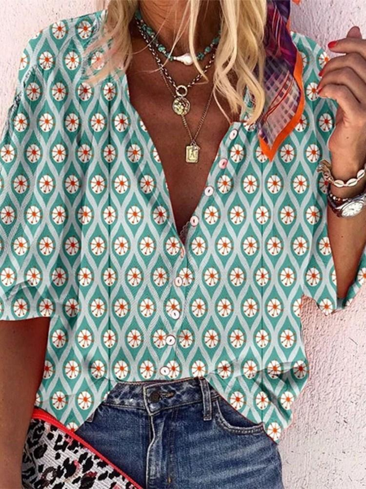 V-Neck Color Block Print Three-Quarter Sleeve Mid-Length Blouse