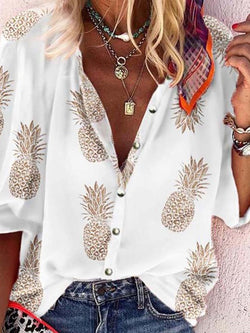 Lantern Sleeve Print Three-Quarter Sleeve Mid-Length Blouse