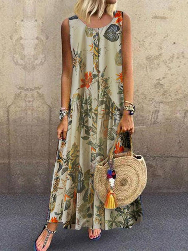 Round Neck Ankle-Length Sleeveless Casual Plant Dress