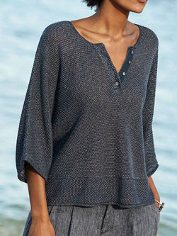 Button Loose Three-Quarter Sleeve Sweater