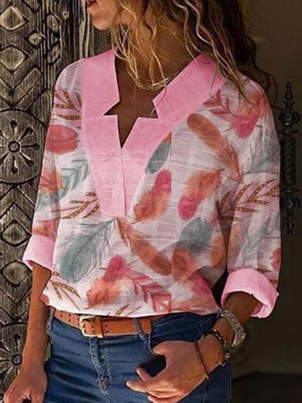 Color Block V-Neck Print Long Sleeve Mid-Length Blouse