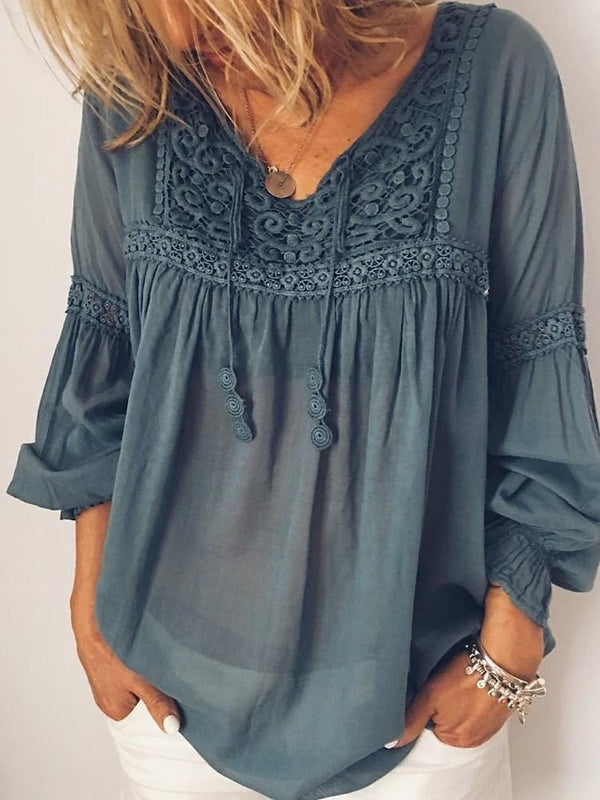 Floral Embroidery Lantern Sleeve Mid-Length Nine Points Sleeve Blouse