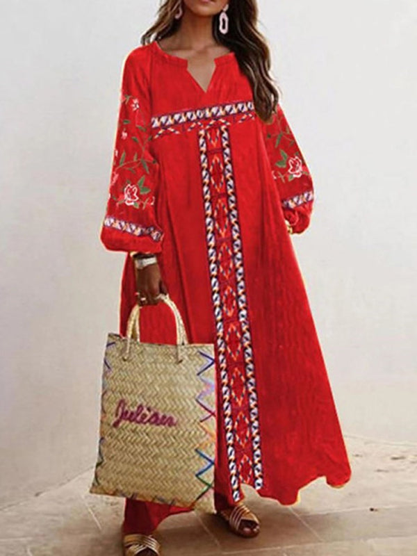 Ankle-Length Embroidery Long Sleeve Expansion Floral Dress