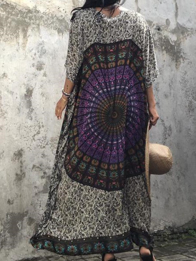 Ankle-Length Print Three-Quarter Sleeve Summer Expansion Dress