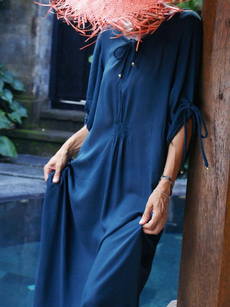 V-Neck Lace-Up Three-Quarter Sleeve Summer Expansion Dress