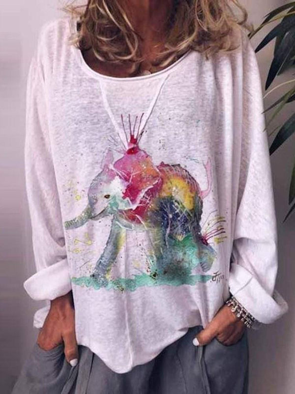 Animal Long Sleeve Round Neck Loose Casual T-Shirt
