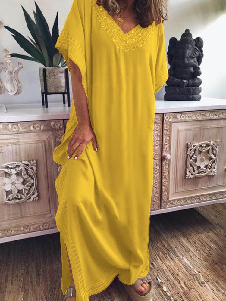 V-Neck Floor-Length Embroidery A-Line Pullover Dress