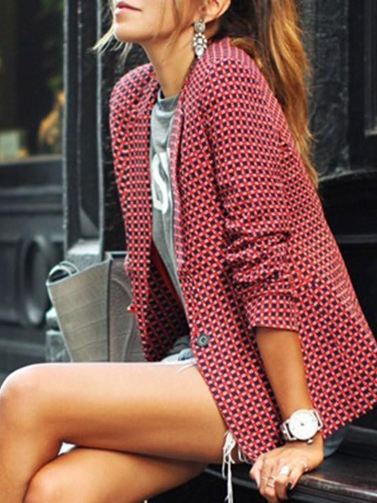 Plaid One Button Long Sleeve Spring Casual Blazer