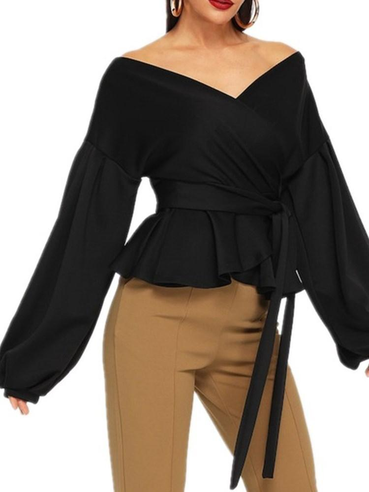 V-Neck Plain Lantern Sleeve Long Sleeve Standard Blouse