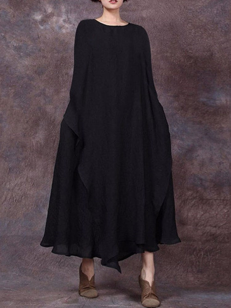 Round Neck Asymmetric Ankle-Length Pullover Plain Dress