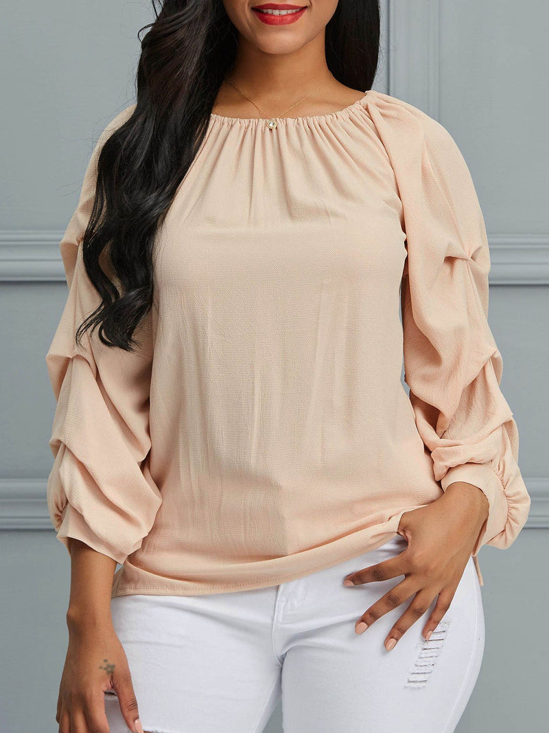 Puff Sleeve Patchwork Plain Mid-Length Three-Quarter Sleeve Blouse
