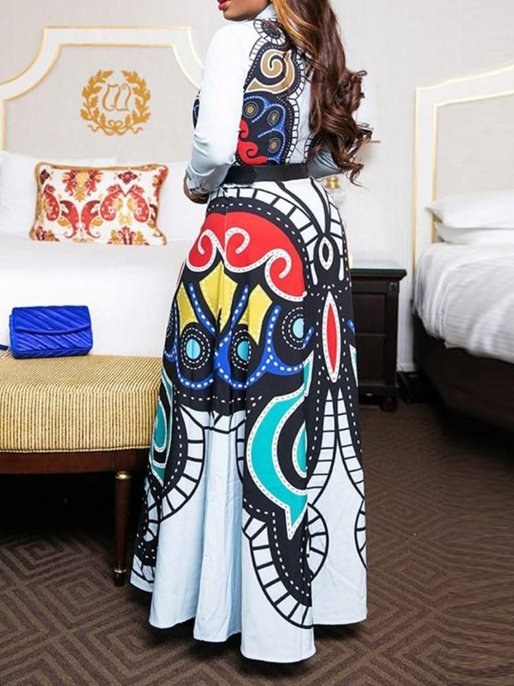 Floor-Length Print Long Sleeve A-Line Standard-Waist Dress