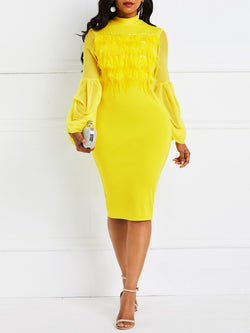 Long Sleeve Knee-Length Patchwork Standard-Waist Spring Dress