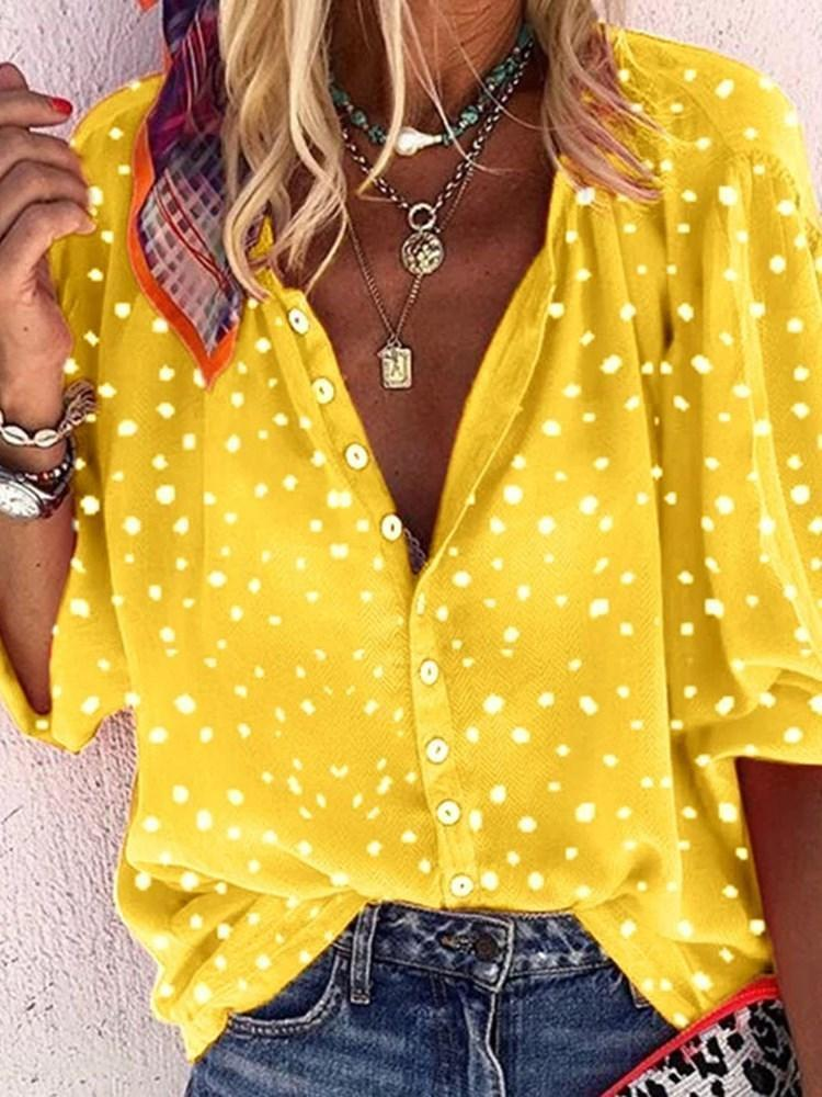 Lapel Polka Dots Standard Three-Quarter Sleeve Blouse