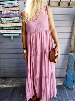 V-Neck Ankle-Length Pleated Beach Look A-Line Dress