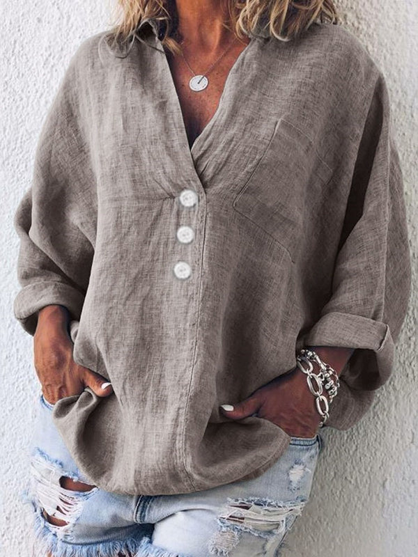Plain V-Neck Button Mid-Length Long Sleeve Blouse