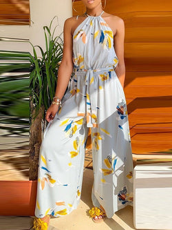 Print Western Full Length Loose Wide Legs Jumpsuit