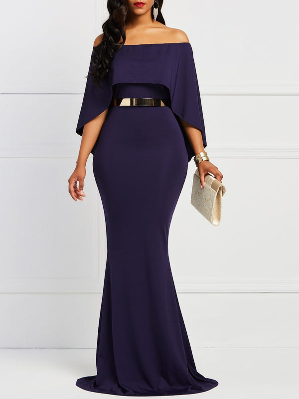 Floor-Length Three-Quarter Sleeve Patchwork Bodycon Plain Dress