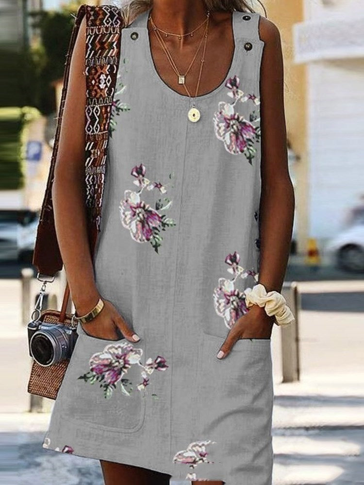 Sleeveless Pocket Above Knee Summer Floral Dress