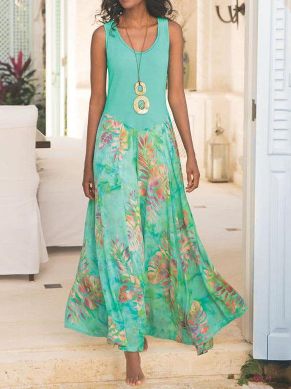 Sleeveless Print Round Neck A-Line Travel Look Dress