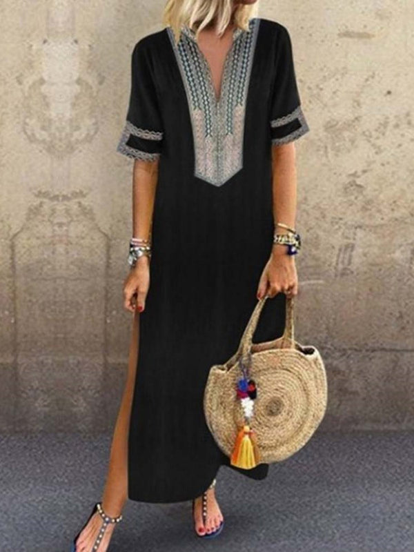 Short Sleeve Ankle-Length V-Neck A-Line Pullover Dress