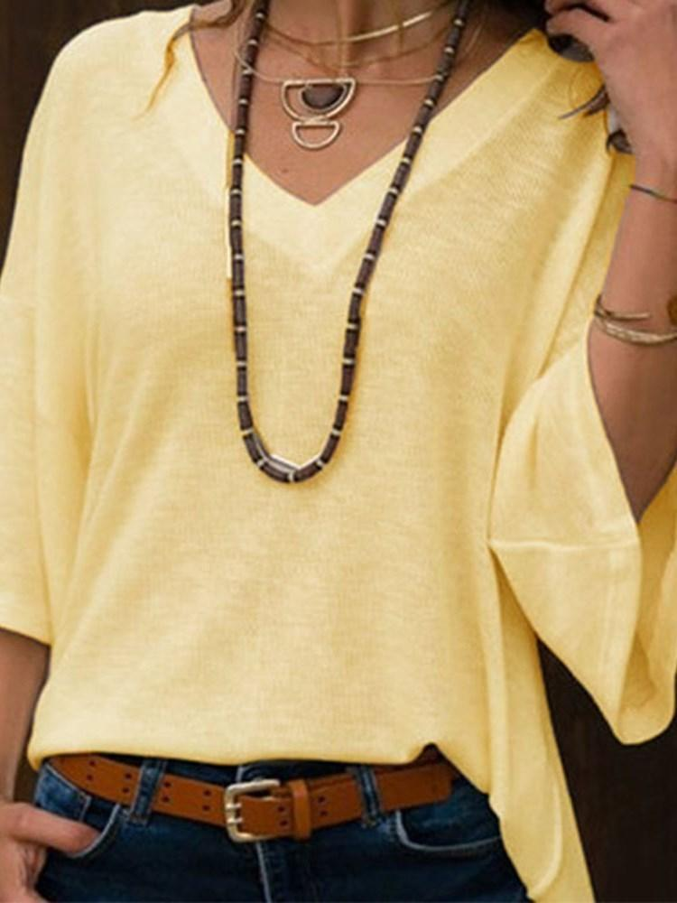 Thin Flare Sleeve V-Neck Fall Sweater