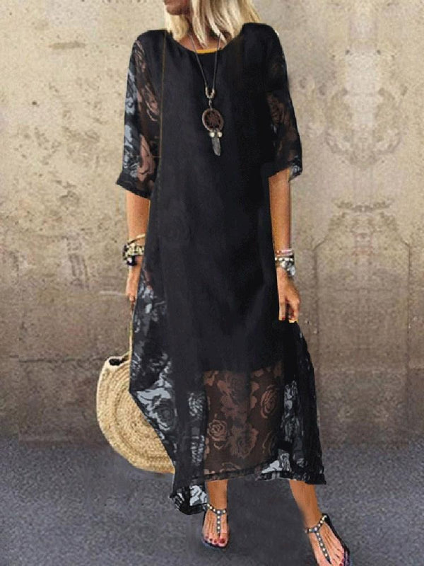 Ankle-Length Print Three-Quarter Sleeve Pullover Floral Dress