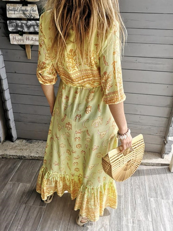 Print Ankle-Length V-Neck Pullover Standard-Waist Dress
