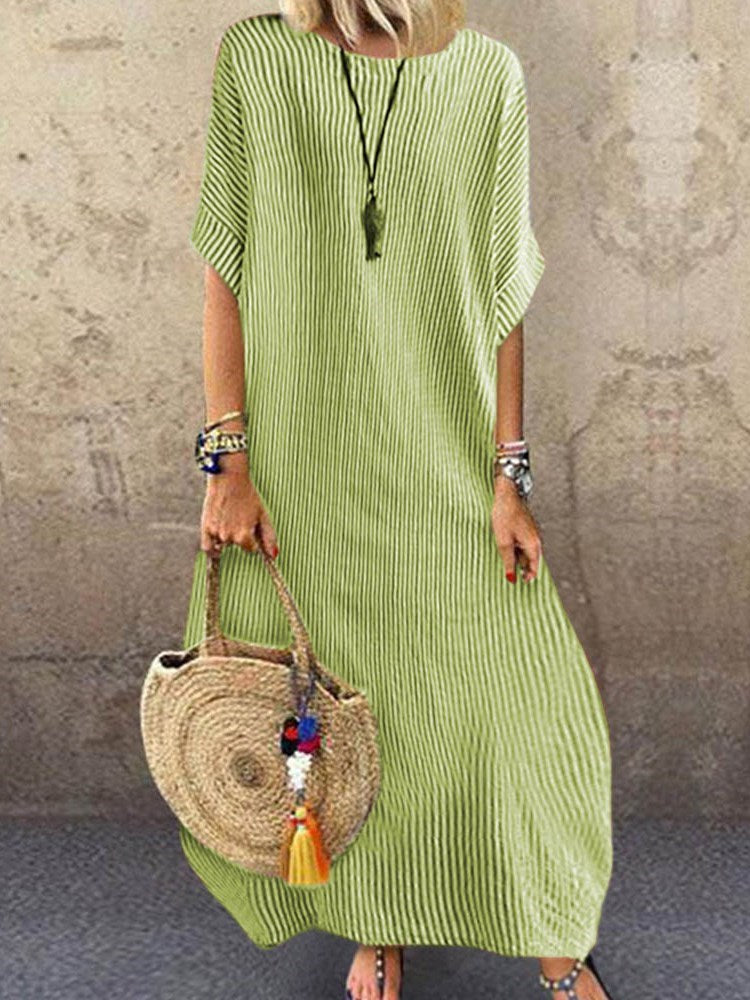 Ankle-Length Half Sleeve Round Neck Straight Travel Look Dress