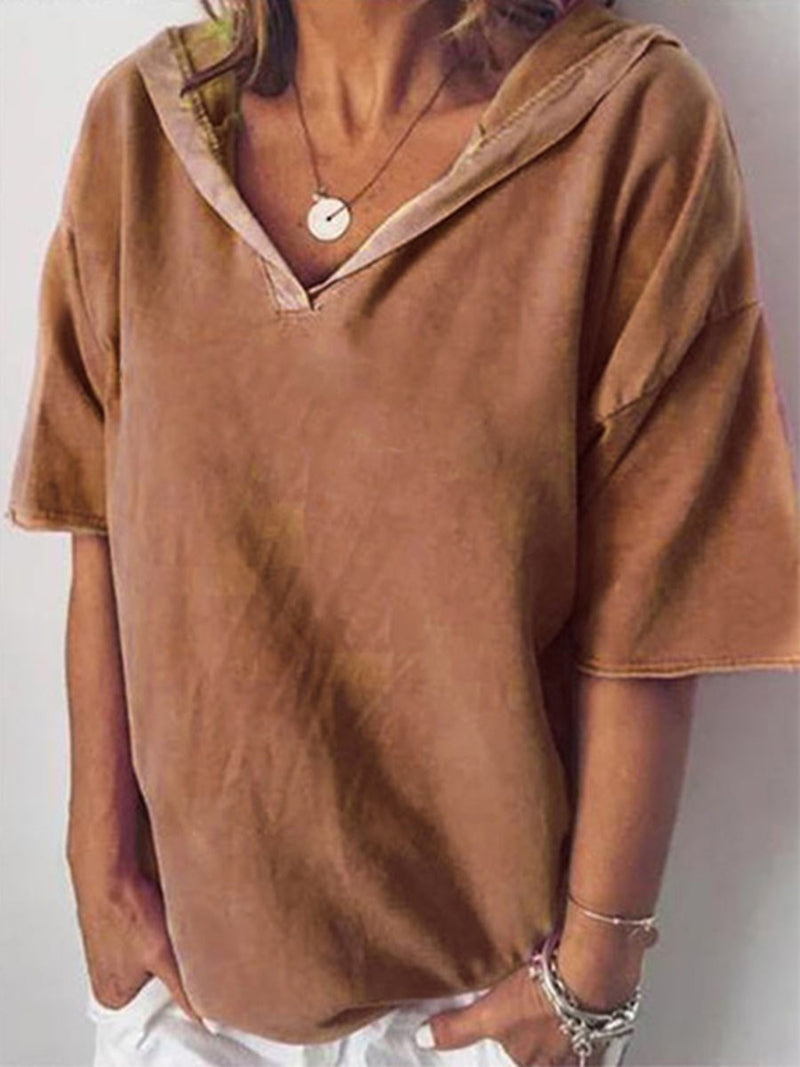 Plain Half Sleeve Standard Loose Casual T-Shirt