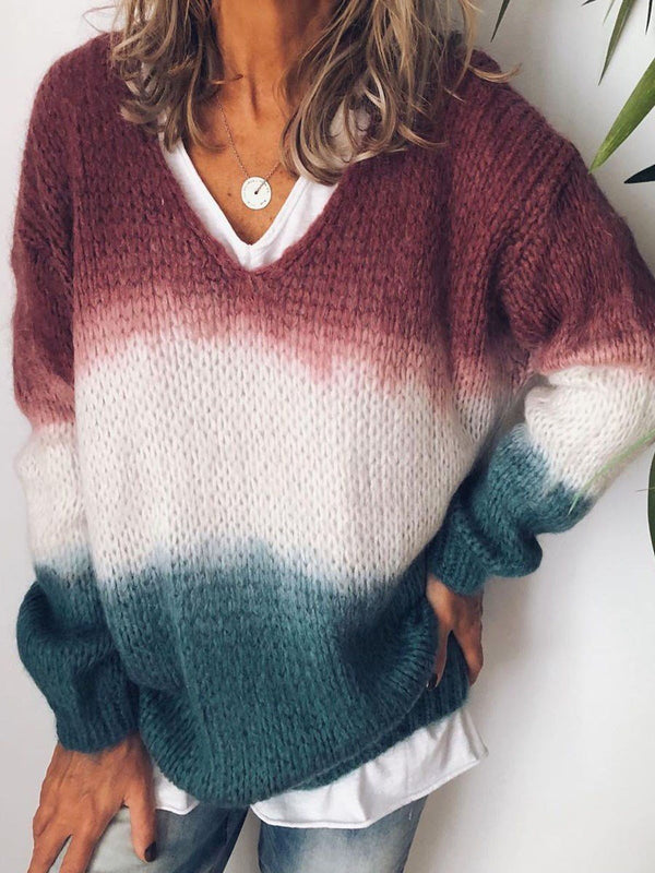 Patchwork Loose V-Neck Sweater