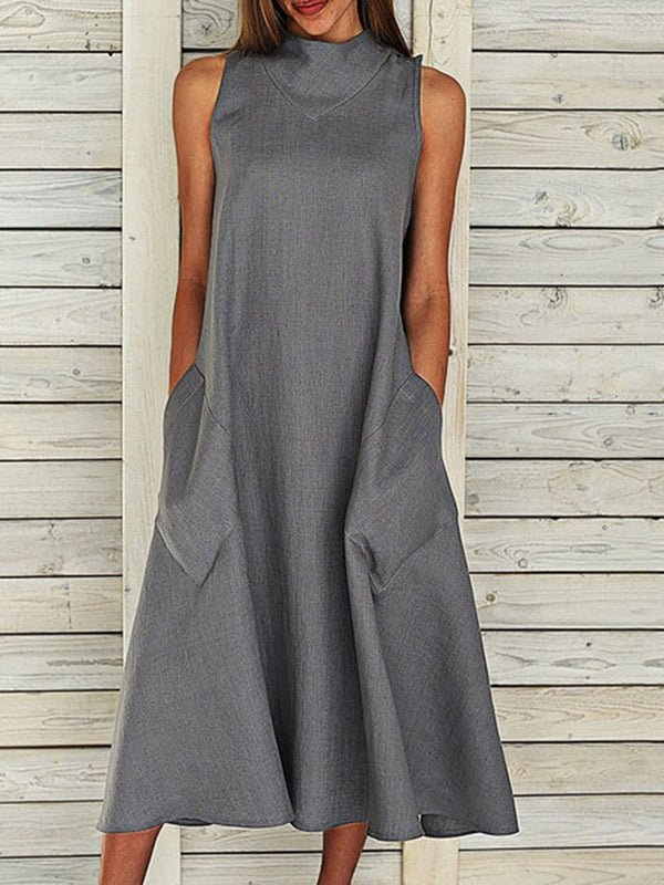 Sleeveless Mid-Calf Pocket A-Line Pullover Dress