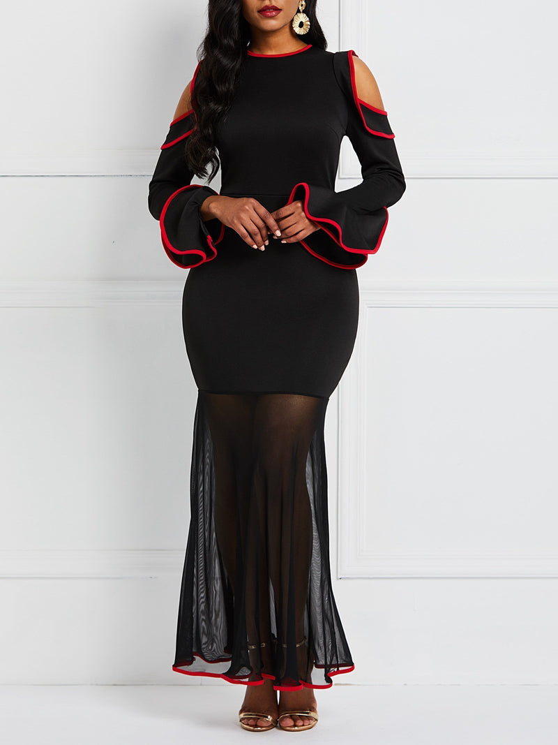 See-Through Ankle-Length Long Sleeve Western Mermaid Dress