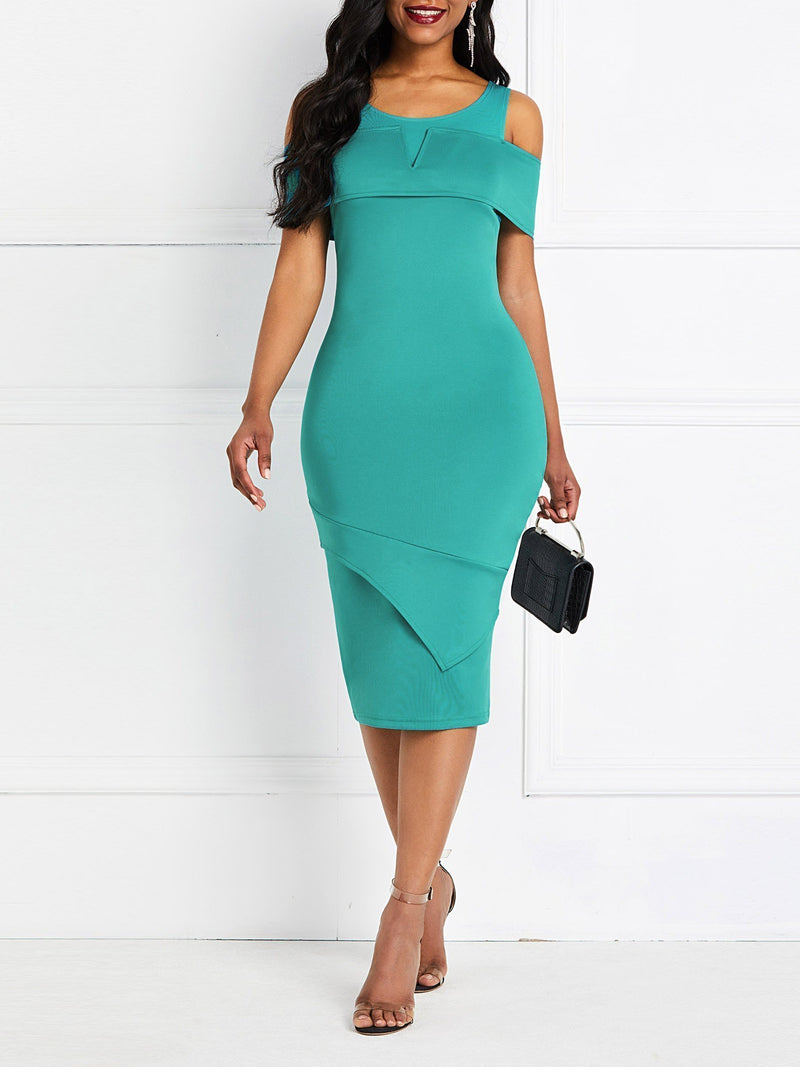 Round Neck Half Sleeve Split Pullover Plain Dress