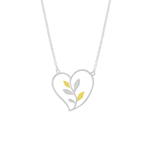 Heart & Vine Necklace with 14 K Gold Vermeil - Boma Life Sterling Silver