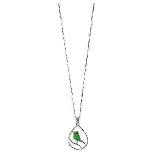 Green Turquoise Bird Necklace - Boma Life Sterling Silver