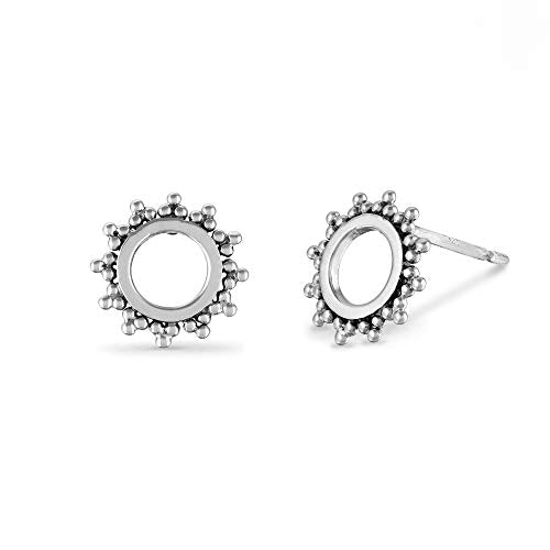 Bohemian Open Circle Sun Stud Earrings - Boma Life Sterling Silver