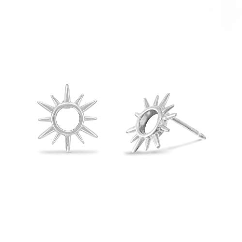 Sunburst Open Circle Stud Earrings - Boma Life Sterling Silver