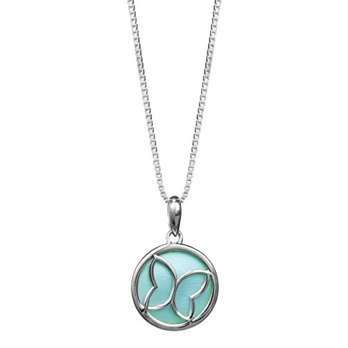 Green Mother of Pearl Butterfly Necklace - Boma Life Sterling Silver