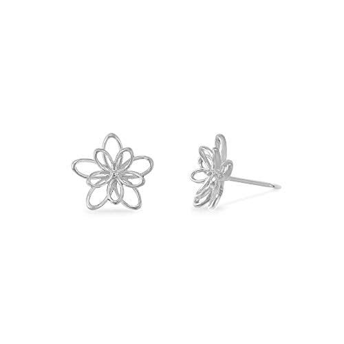 Woven Flower Stud Earrings - Boma Life Sterling Silver
