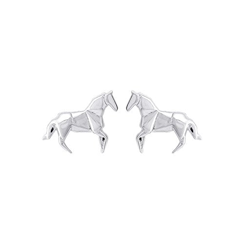 Origami Horse Stud Earrings - Boma Life Sterling Silver