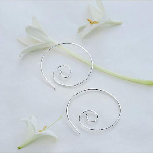 Large Spiral Pull Through Hoop Earrings - Boma Life Sterling Silver