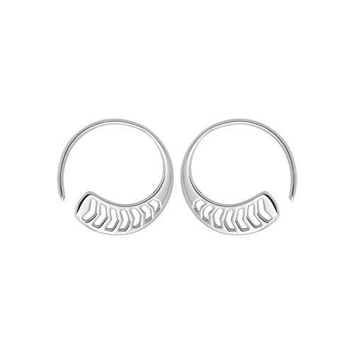 Chevron Pull Through Hoop Earrings - Boma Life Sterling Silver