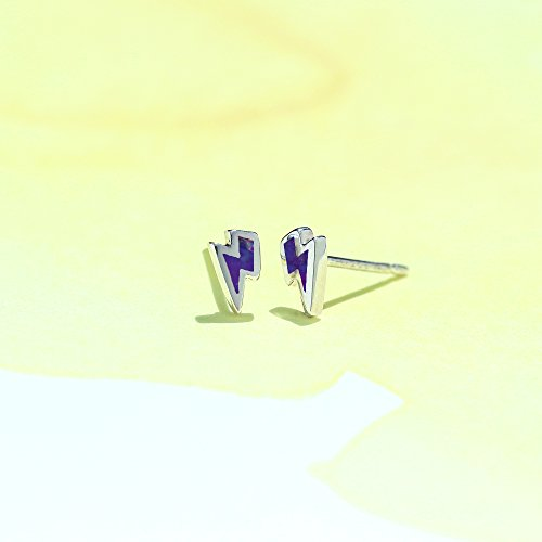 Purple Turquoise Lightning Bolt Stud Earrings - Boma Life Sterling Silver