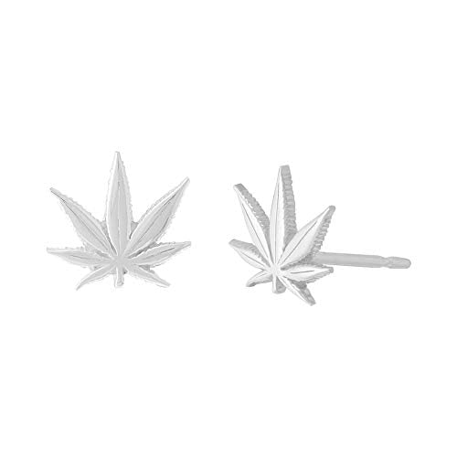 Marijuana Leaf Stud Earrings - Boma Life Sterling Silver