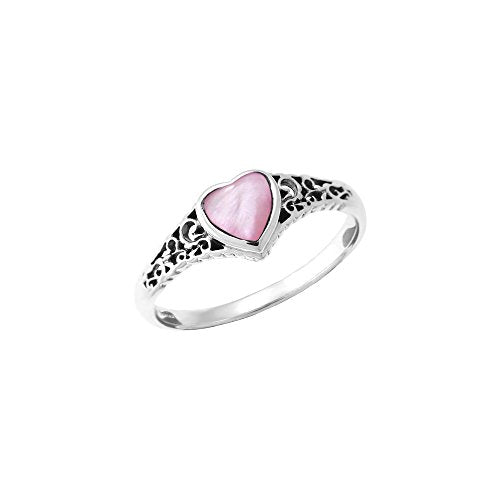 Pink Shell Heart Ring - Boma Life Sterling Silver