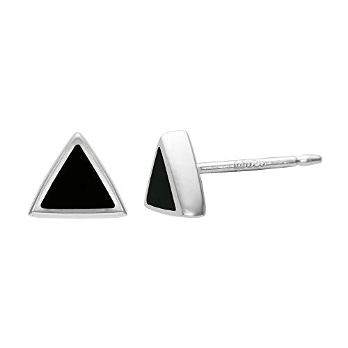 Onyx Triangle Stud Earrings - Boma Life Sterling Silver