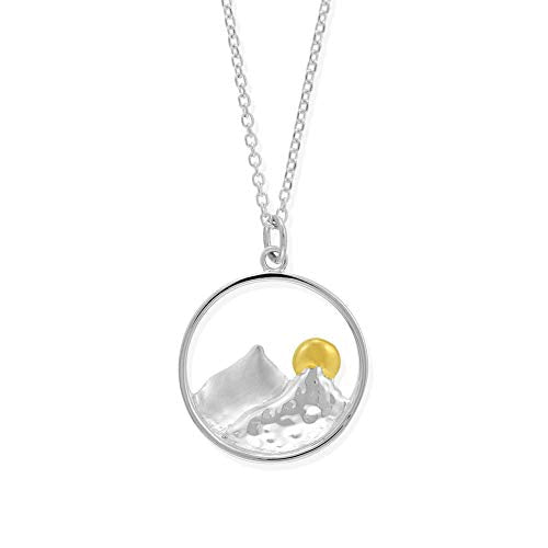 Mountain Necklace with 14K Gold Vermeil Sun - Boma Life Sterling Silver