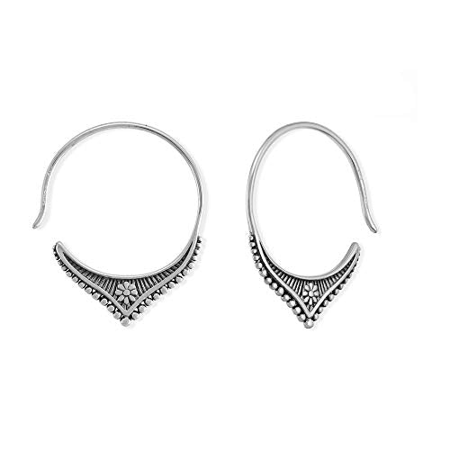 Bohemian Flower Pull Through Hoop Earrings - Boma Life Sterling Silver